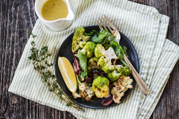 Roasted Cauliflower and Chickpea Salad   edibleperspective.com