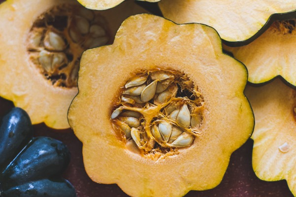 Roasted Acorn Squash and Apples with Quinoa, Kale, and Tahini Maple Dressing | edible perspective