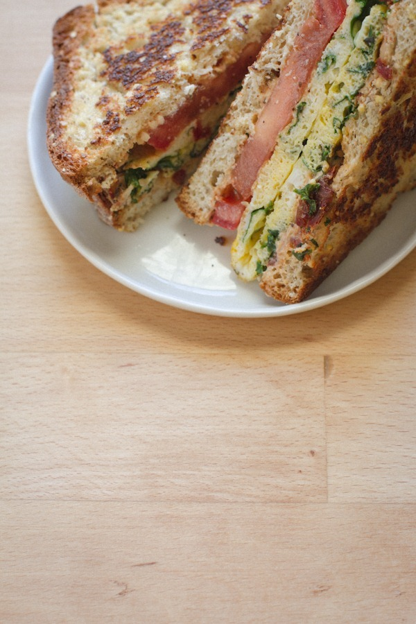 Kale Egg + Sun Dried Tomato Sandwich | edible perpsective