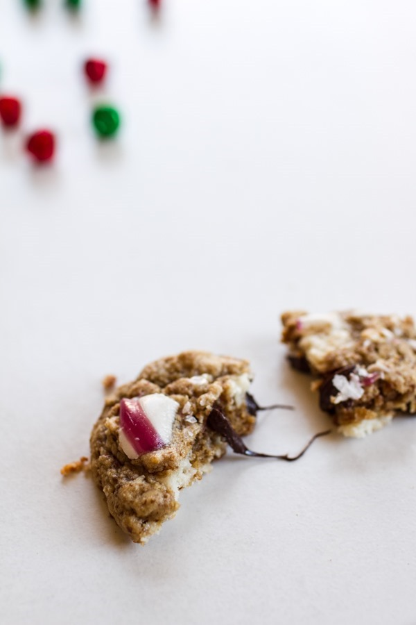 The Best Gluten-Free Chocolate Chip Cookies with Coconut Butter Chips + Candy Canes | edibleperspective.com
