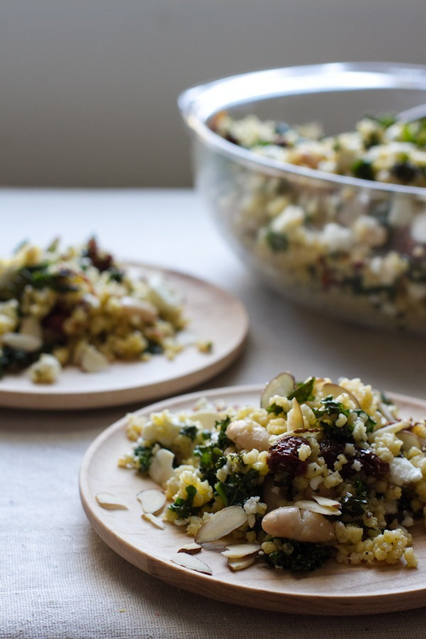 Millet Salad with Sun-Dried Tomatoes, Kale, and Beans // edible perspective