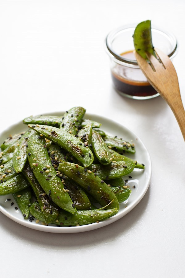 Roasted Sugar Snap Peas + Sesame Dipping Sauce // edible perspective