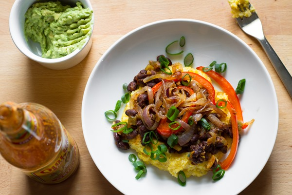 black bean polenta burrito bowl // edible perspective