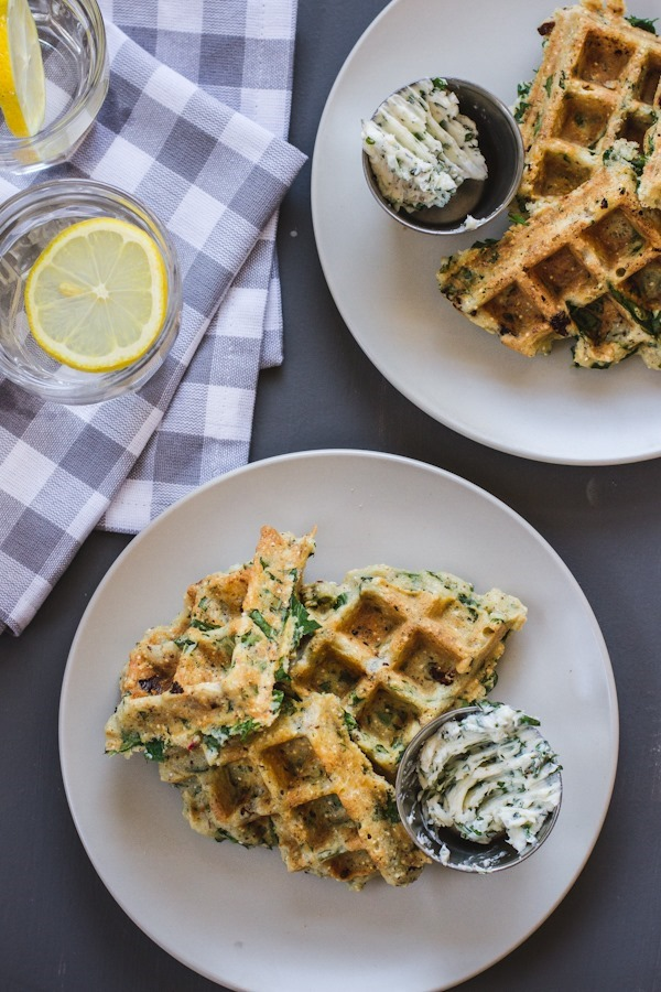 Breakfast Friday // Savory Green Power Waffle with Sun-Dried Tomatoes, Basil, and Ricotta
