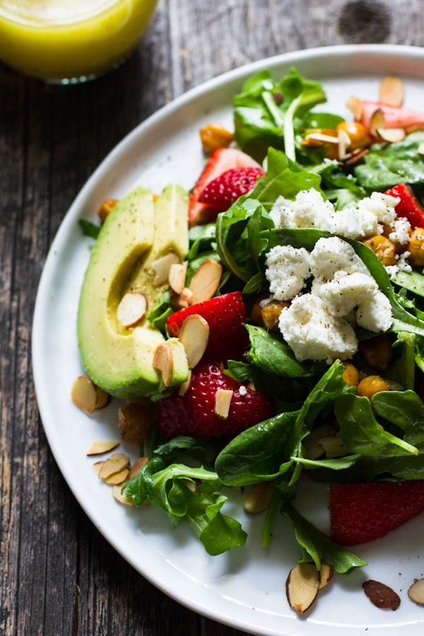 Strawberry Salad with Lemon Roasted Chickpeas + Lemon Shallot Dressing // edible perspective