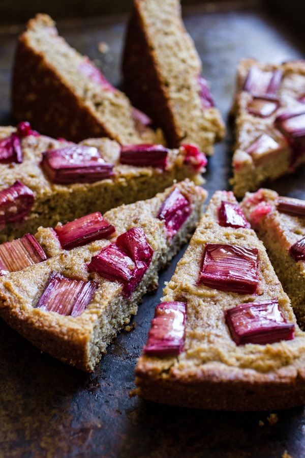 Breakfast Friday >> Honey Rhubarb Quinoa Cornbread | edibleperspective.com #glutenfree