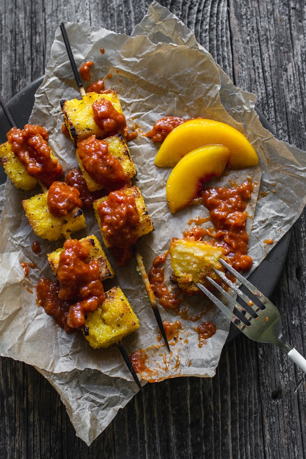 Grilled Peach Barbecue Sauce with Grilled Polenta | edibleperspective.com