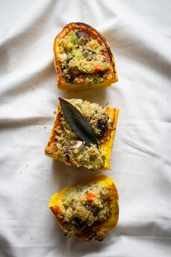 stuffed delicata squash with quinoa stuffing | edibleperspective.com