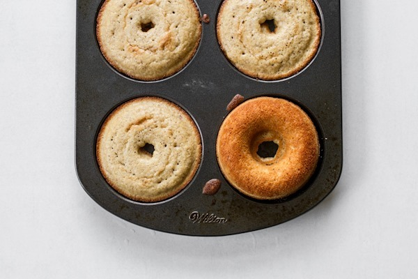 Buttermilk Baked Doughnuts with Vanilla + Chocolate Glaze | edibleperspective.com #glutenfree