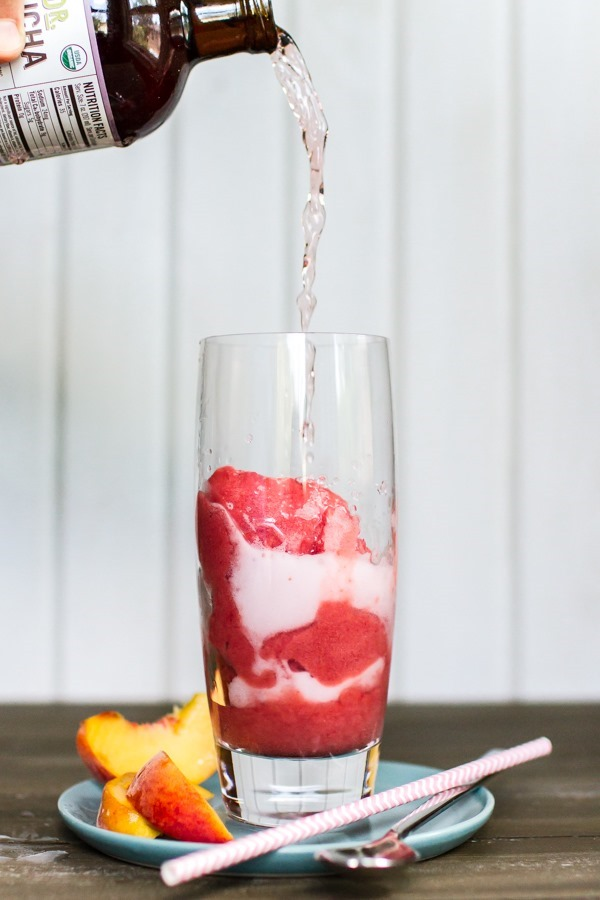 Raspberry Peach Sorbet + Kombucha Floats | edibleperspective.com