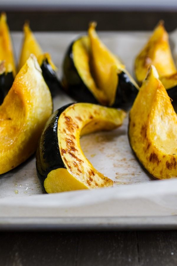 Roasted Acorn Squash with Pears and Miso Dressing | edibleperspective.com #vegan #glutenfree
