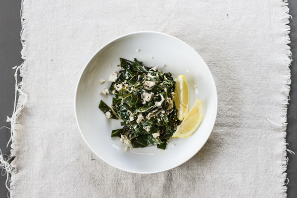 Lemon + Goat Cheese Greens | edibleperspective.com