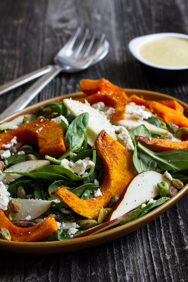 Roasted Kabocha Squash Spinach Salad with Orange Pistachio Vinaigrette | edible perspective