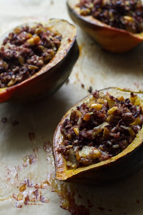 Spiced Wild Rice Stuffed Acorn Squash | edible perspective