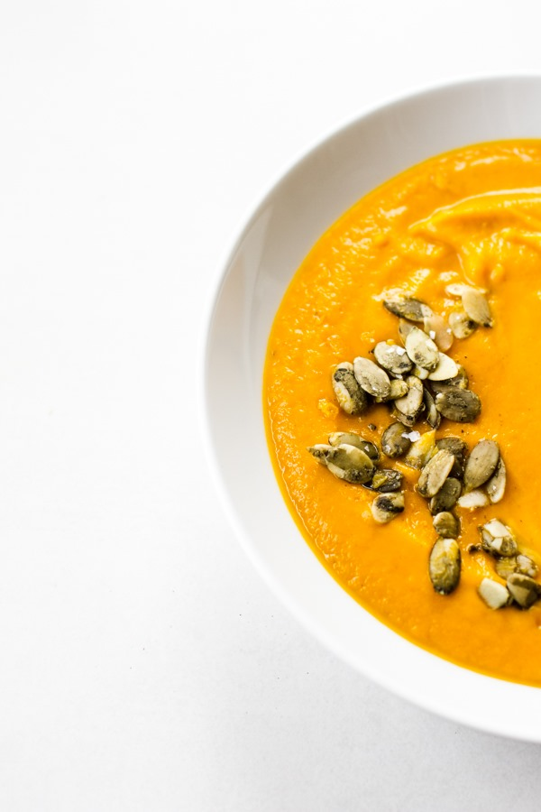 Carrot Soup for the soul with fresh ginger, turmeric, and toasted cumin seeds | edibleperspective.com #vegan