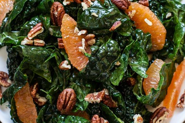 Sweet Orange Kale Salad | edibleperspective.com