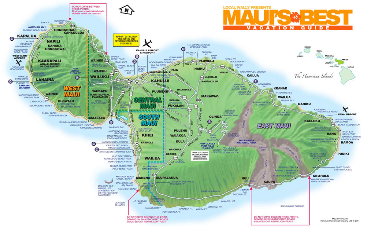 Local Wallys Guide to Maui Mauis Best Vacation Guide – Maui Tourist Attractions Map