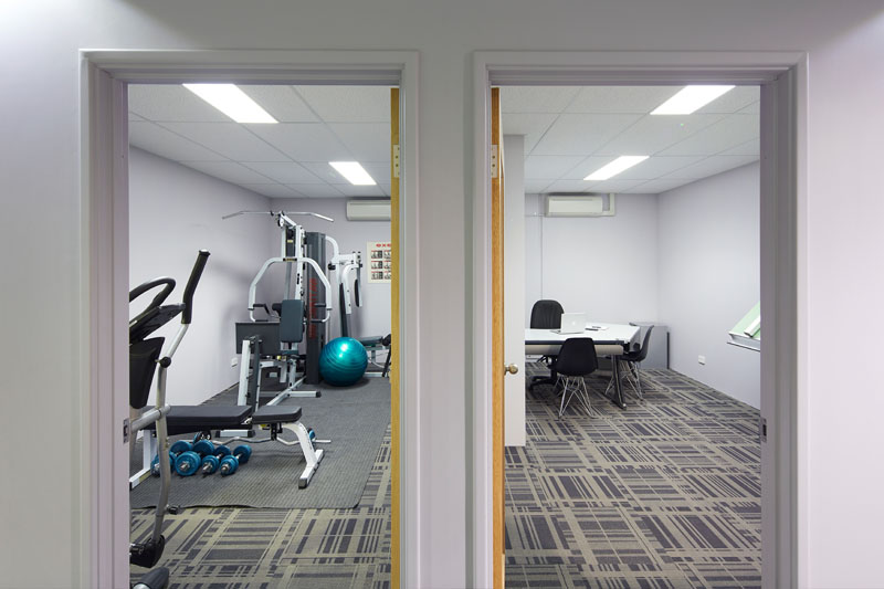 3 Offices and Indoor Gym Area