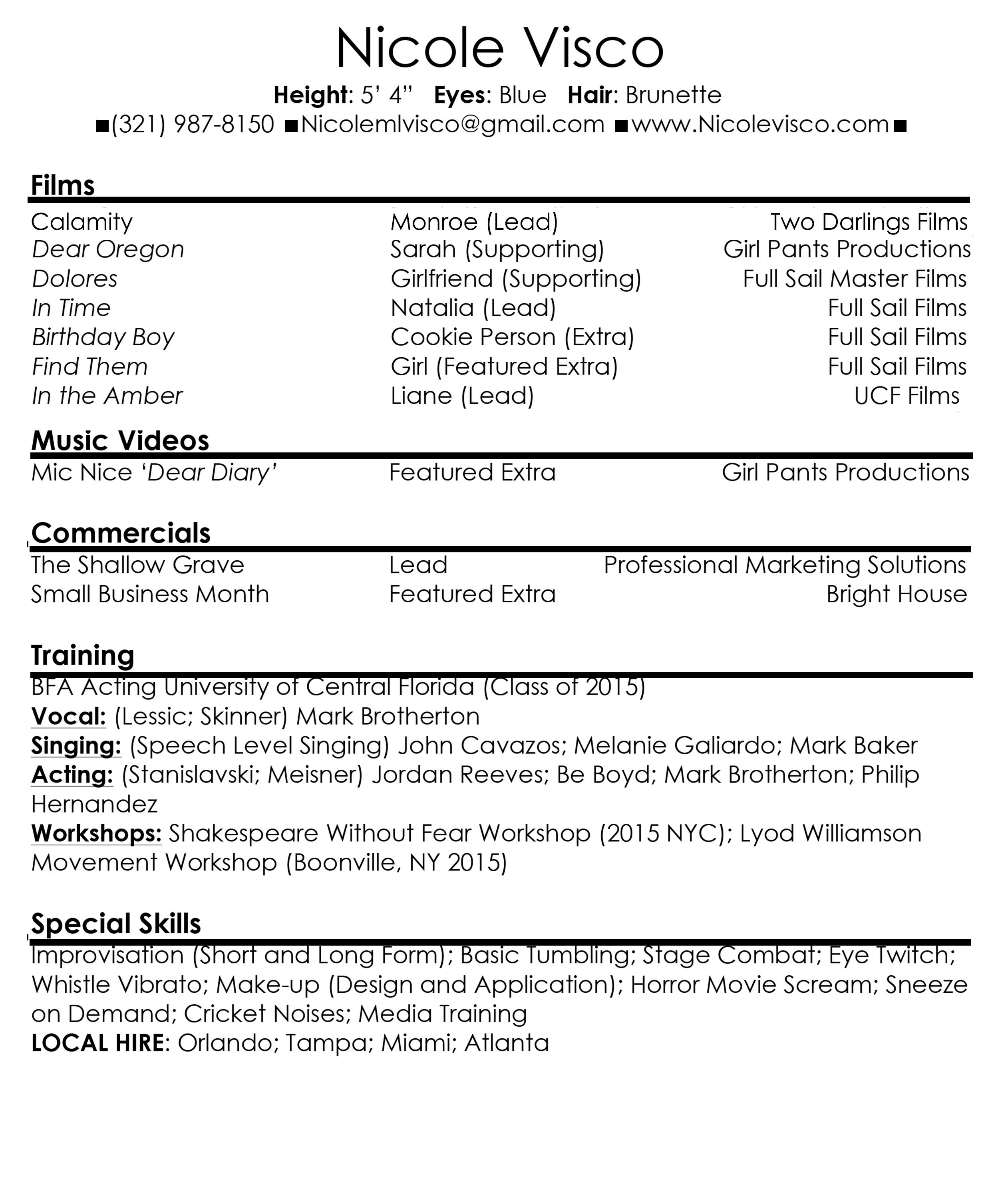 resume hs actor singer model film resume