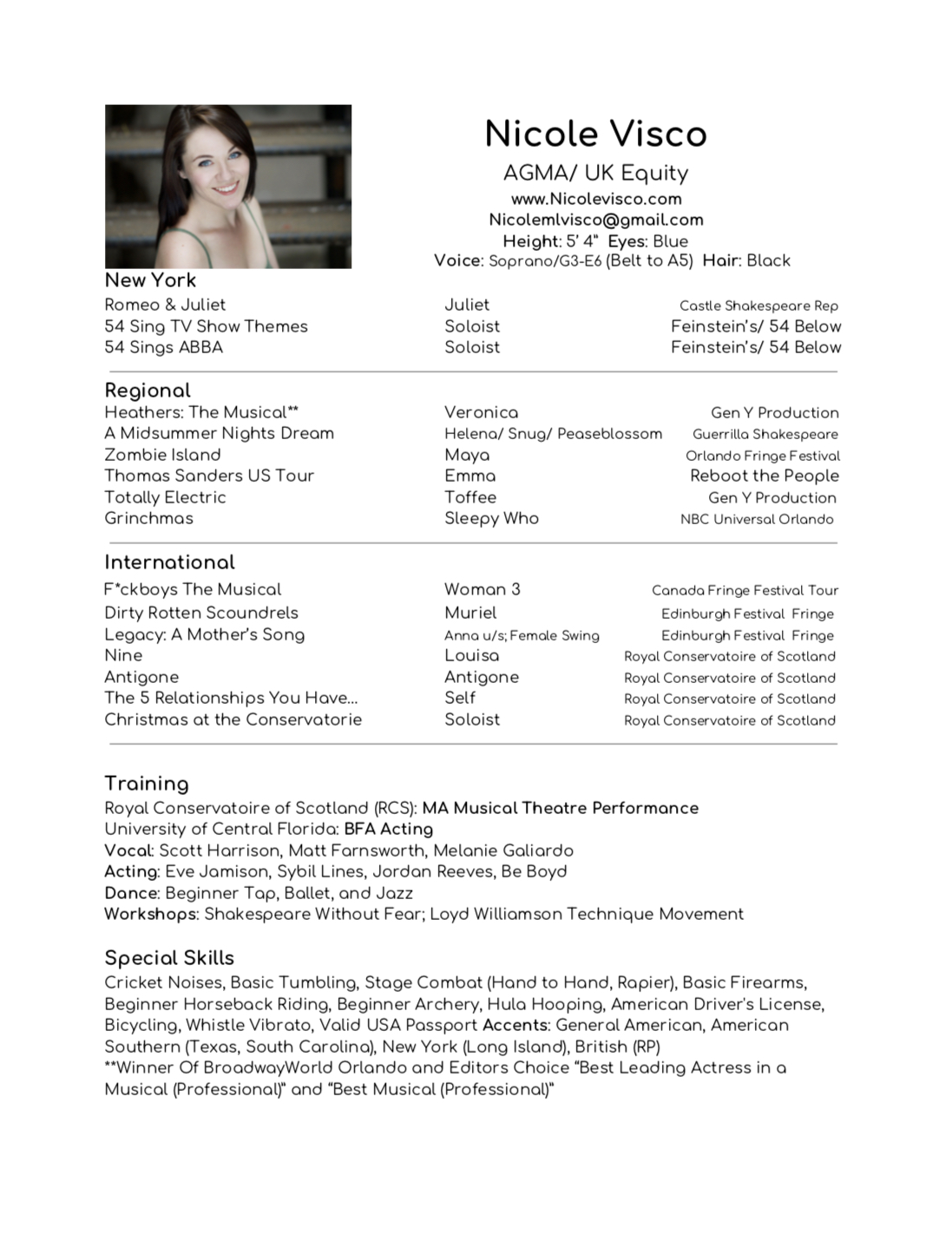 Resume — Actor  Singer  Creator