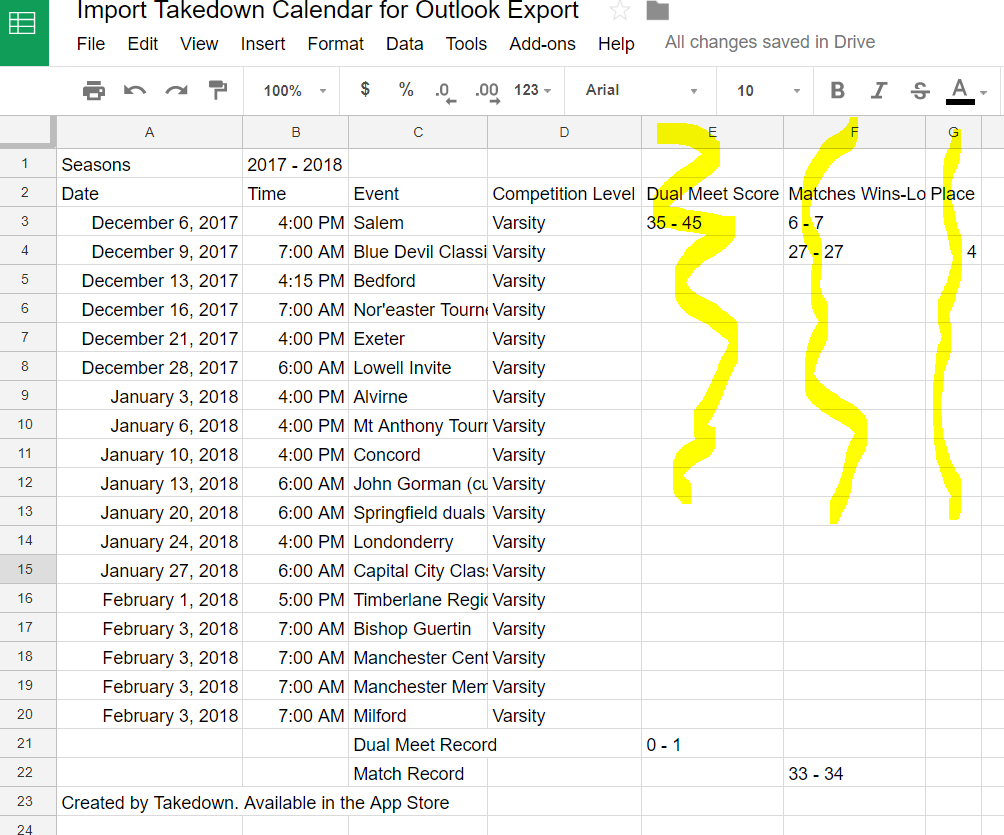 Import your Takedown Schedule into Outlook or Google Calendar