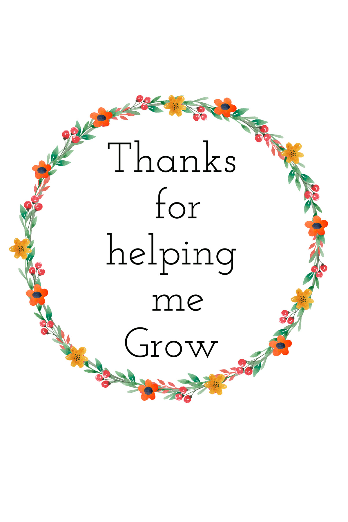 This is a graphic of Rare Thank You for Helping Us Grow Printable
