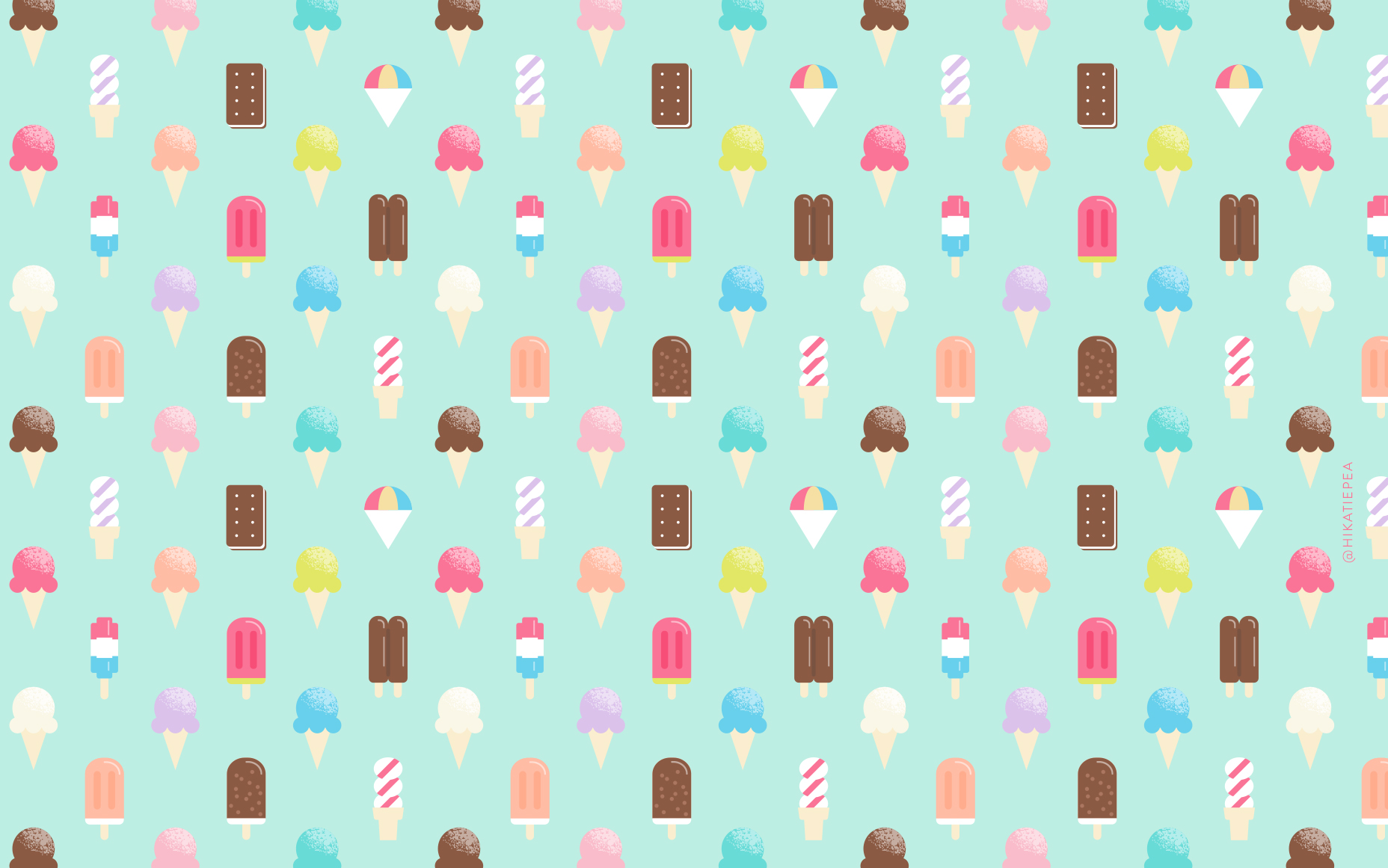 Freebie Ice Cream Wallpaper Katie Pea Studio
