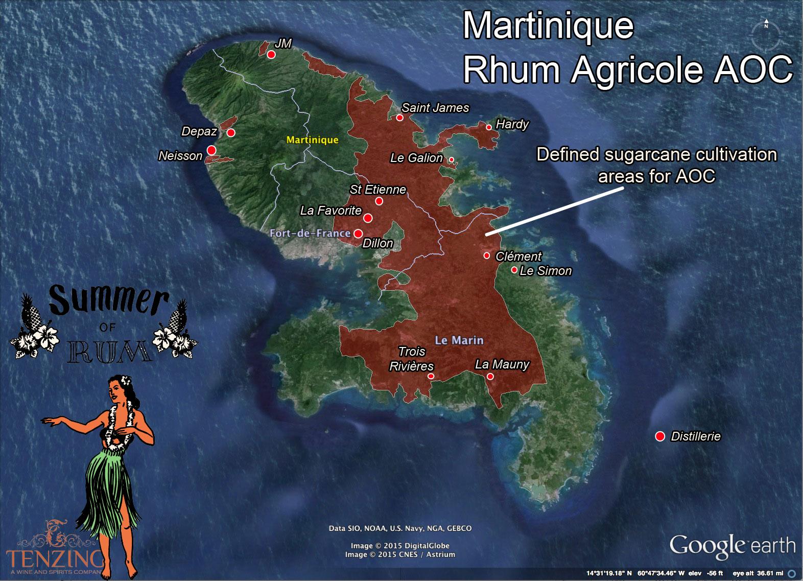 Map Of Martinique Rhum Agricole Aoc And Distilleries Summerofrum