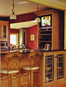 red orange tan kitchen