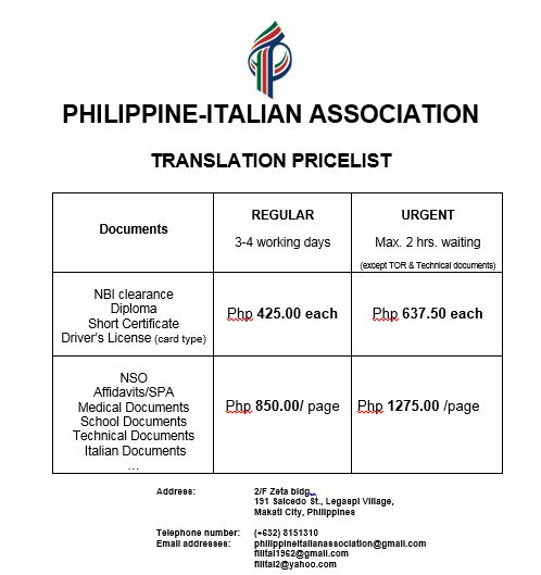Translation services philippine italian association for checking and downloading our translation pricelist click here yadclub Image collections