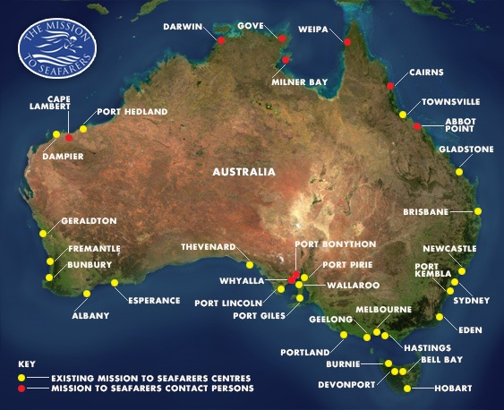 Australia Location Map.Locations Mission To Seafarers Australia