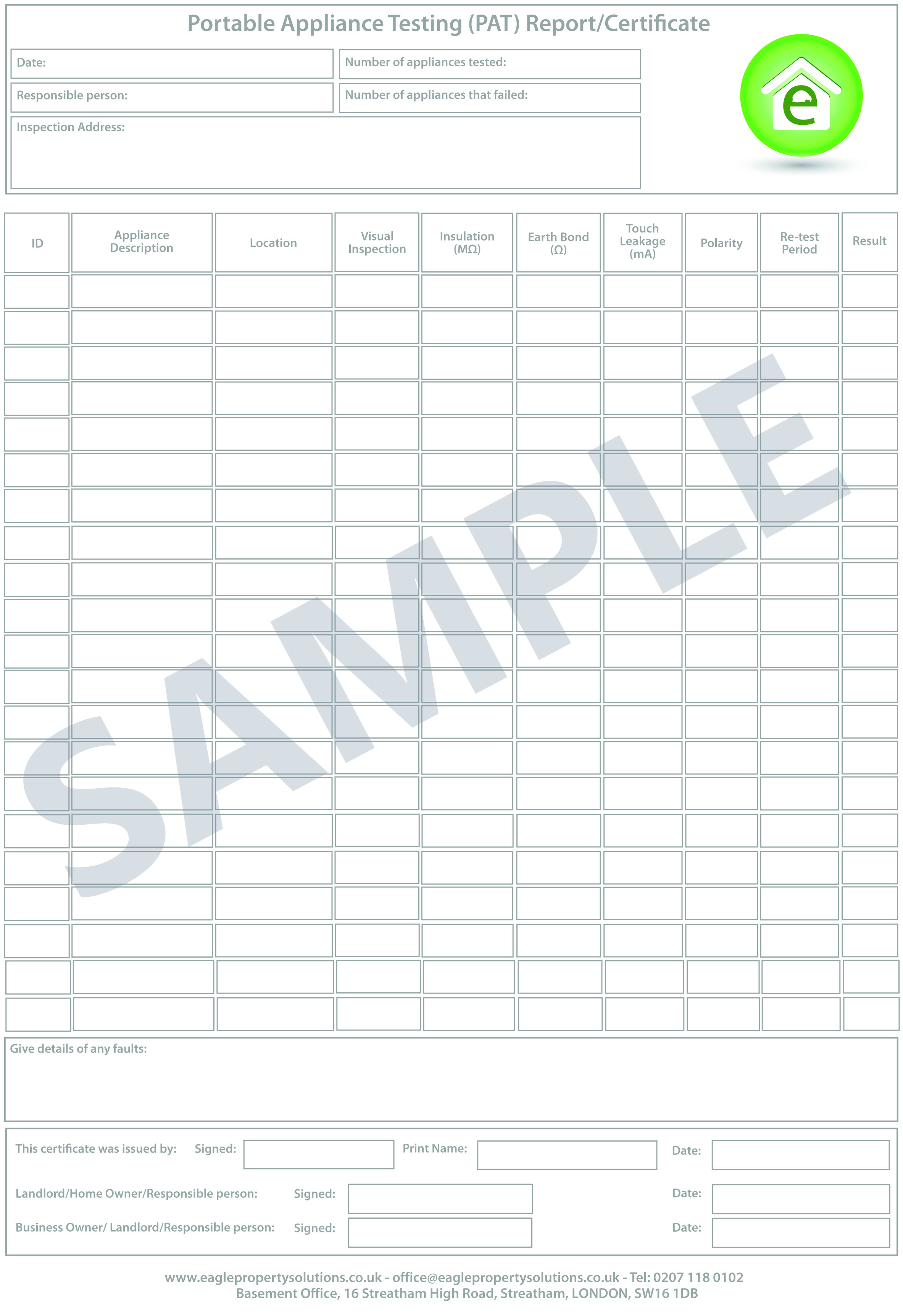 pat testing record sheet template pat testing eagle property solutions