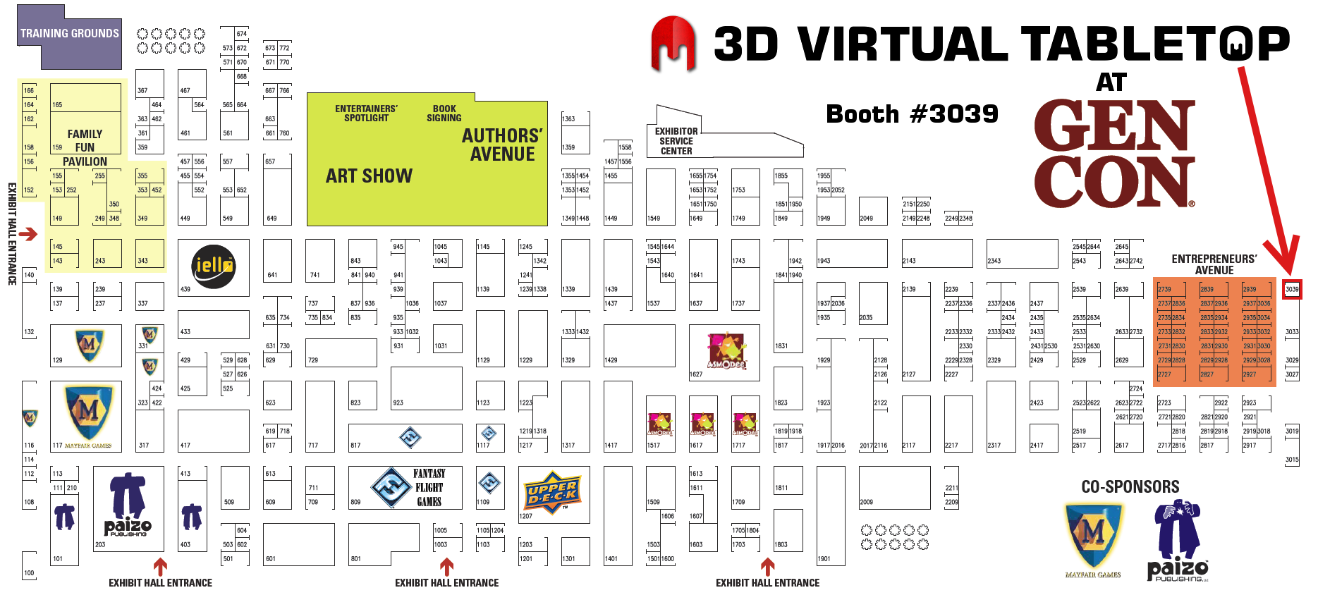 3D Virtual Tabletop Booth Location #3039 at Gen Con
