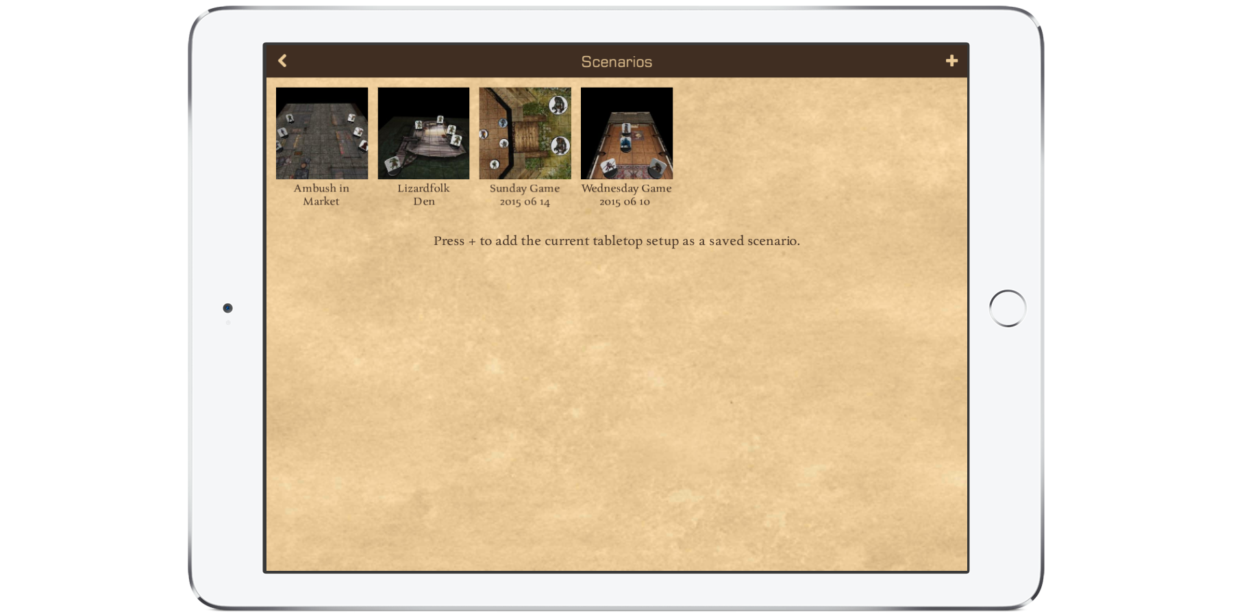 3D Virtual Tabletop Scenarios on iPad