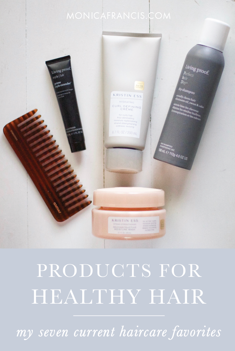 Seven Products for Healthy Hair | My favorite haircare products to air dry and style my wavy, frizz-prone lob. I'm always trying to keep my mid-length hair as healthy as possible, and these are the best things I've found.