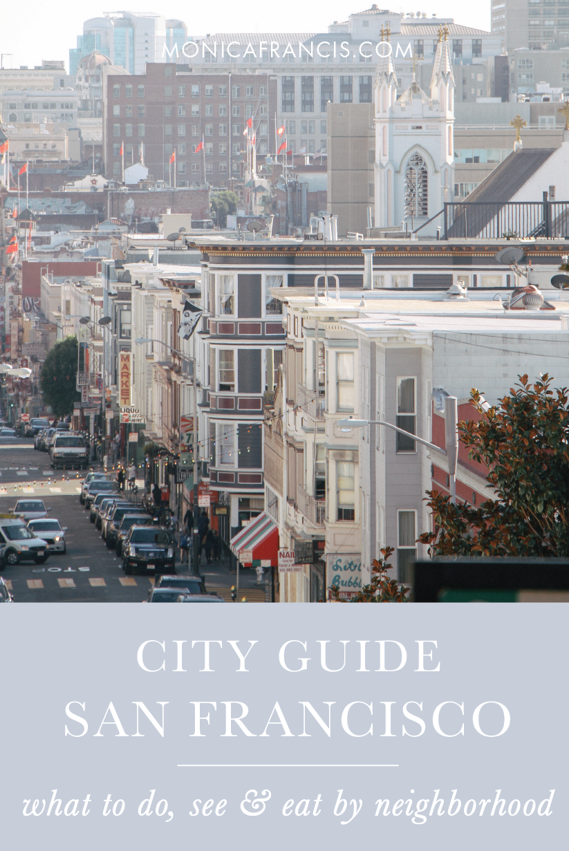 San Francisco City Guide | A travel guide for a quick visit to San Francisco, CA | Things to do, favorite restaurants, the prettiest streets, and the best views. | What to see in San Francisco's most popular neighborhoods. | Downtown, Hayes Valley, Alamo Square, The Mission District, The Marina, Cow Hollow, Marshall's Beach, Legion of Honor | With a custom travel map you can access from your phone!