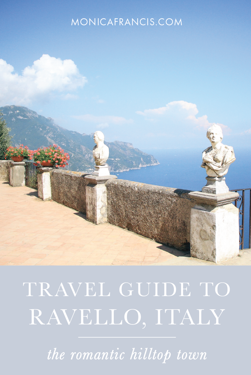 Ravello, Italy Travel Guide | Things to see, where to eat, what to wear and what to do in this romantic, sky-high town on the Amalfi Coast - for a day trip or a longer stay. | A perfect honeymoon destination. | Villa Cimbrone, Terrace of Infinity | The Best Hotels and Restaurants in Ravello, Italy | Where to Stay | What to Wear | What to Pack | Where to go for Aperitivo | Ravello Day Trip from Positano