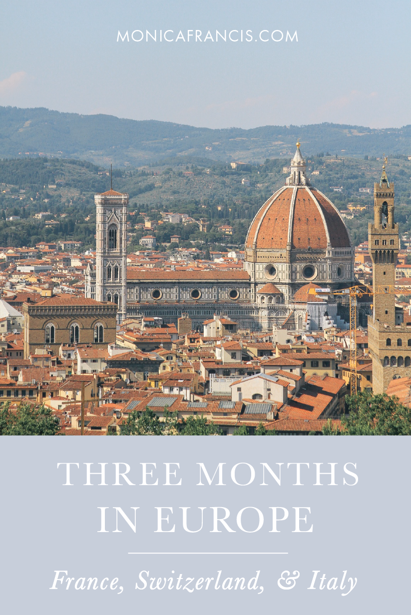 Our Summer Abroad: The Non-Backpacker's Guide to Three Months of Slow Travel Through Europe | A 3-Month Itinerary from Paris to Rome, traveling to cities through France, Switzerland and Italy. |  My Packing List and Planning Tips for spending the summer in Europe's most beautiful destinations.