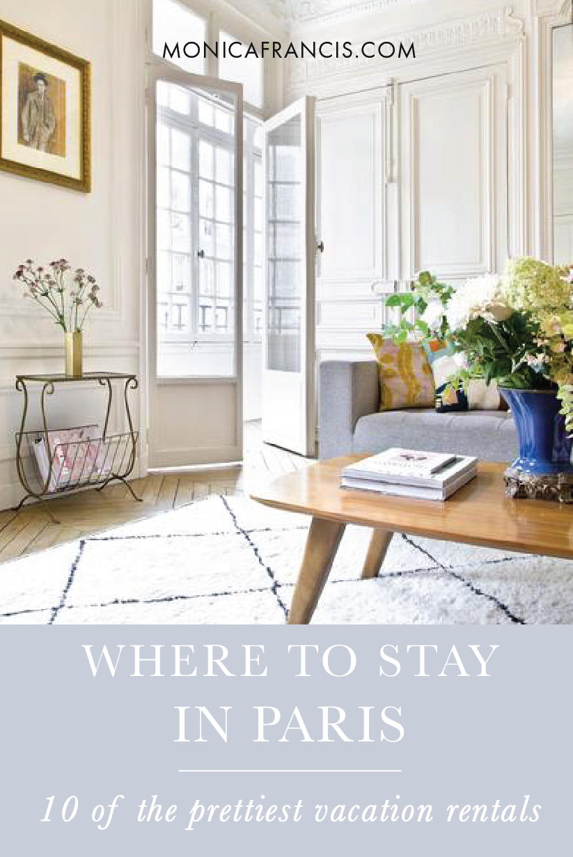 10 of the Prettiest Vacation Rental Apartments in Paris | Where to Stay in Paris | After searching everywhere from Airbnb to Paris Perfect, I've collected ten of the best apartments you can rent in Paris. From a flat with a private terrace in Saint Germain to a picture-perfect balcony by the Eiffel Tower, from studios to multiple bedrooms, these apartments have the prettiest interiors and best locations for your trip! Renting an apartment gives you a kitchen to cook a few meals, and those beautiful french windows.