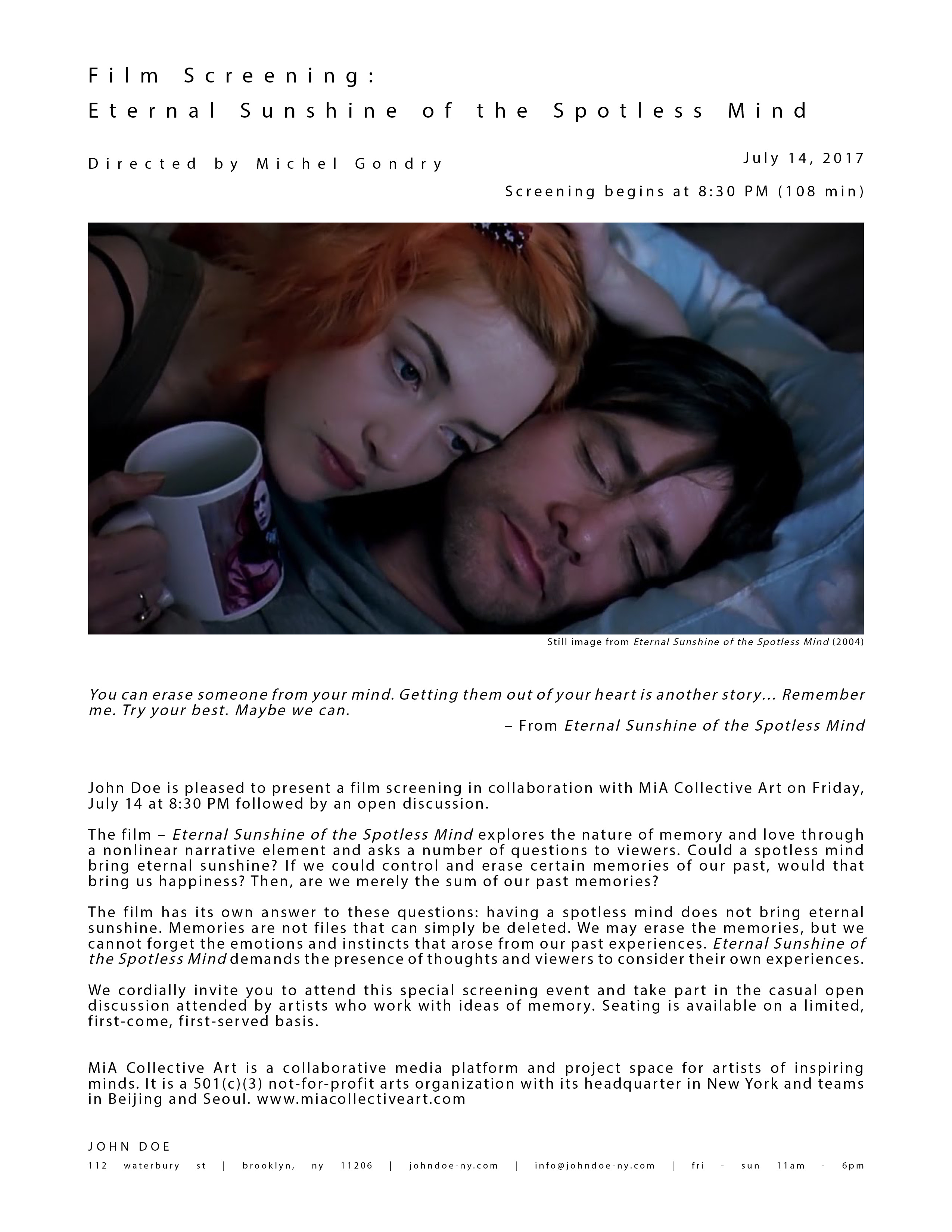 film evaluation eternal sunshine of
