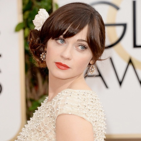 Get the Look: Zooey Deschanel at the 2014 Golden Globes.
