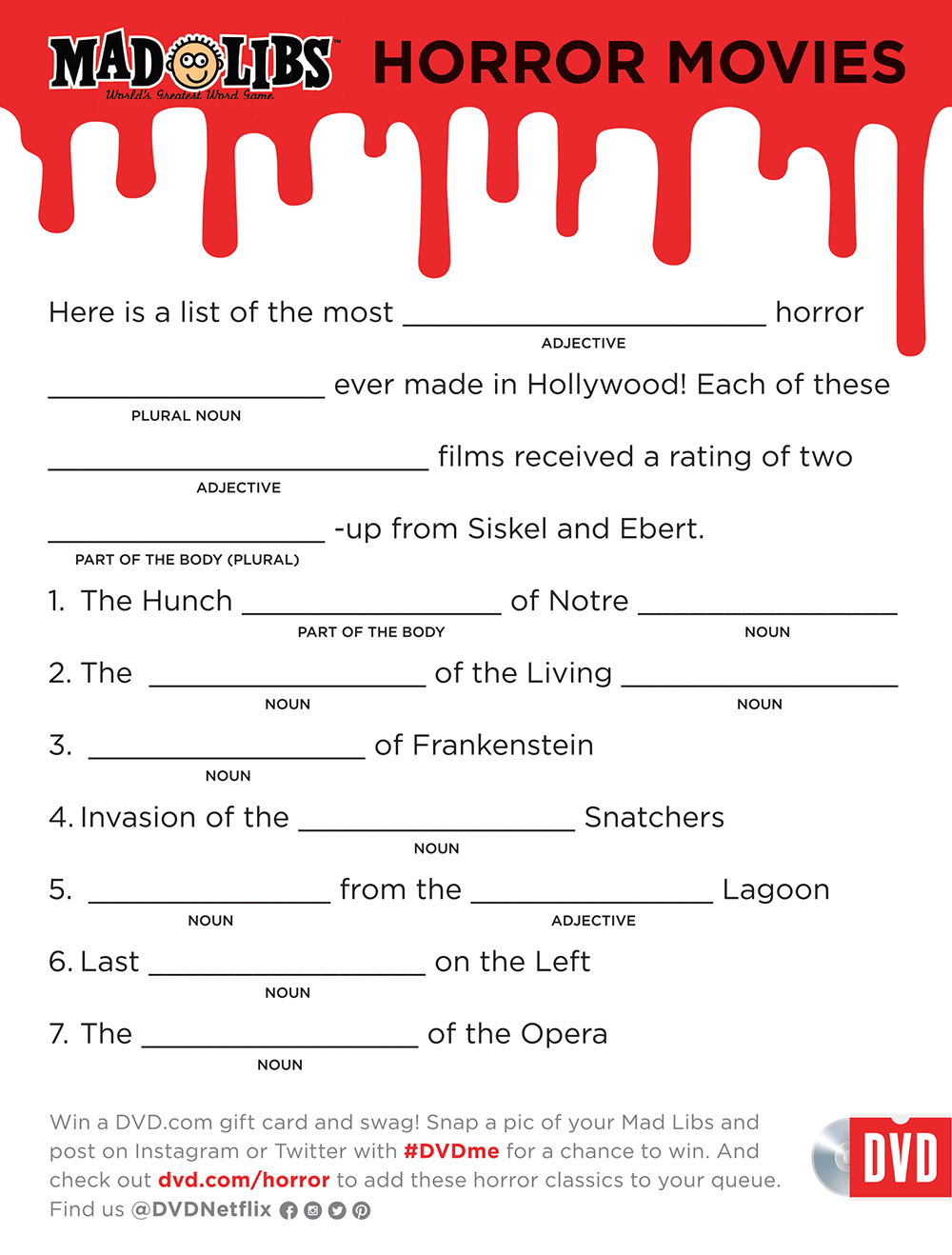 This is an image of Mad Libs Printable for Adults intended for fifth grade