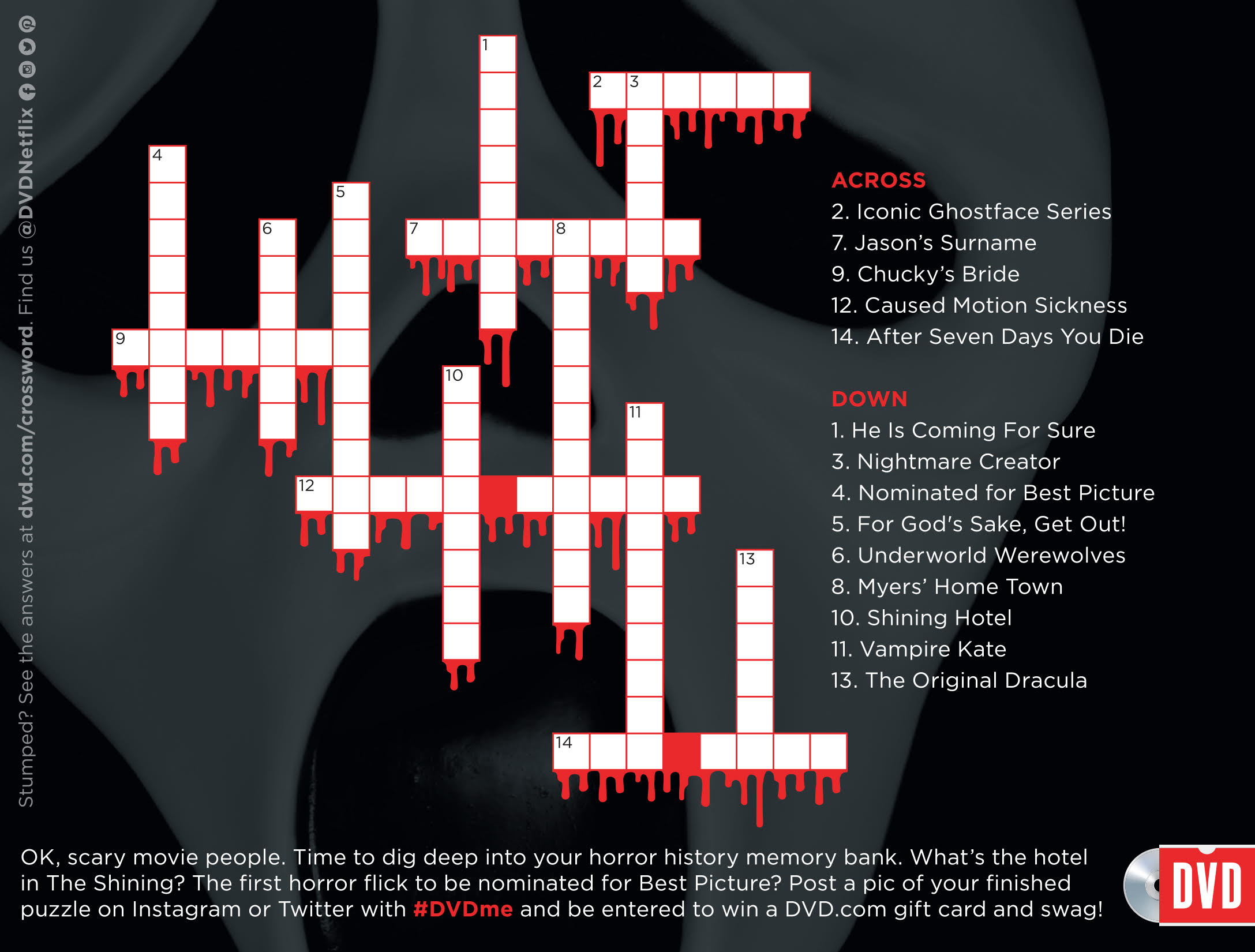 halloween films crossword puzzle - netflix dvd blog