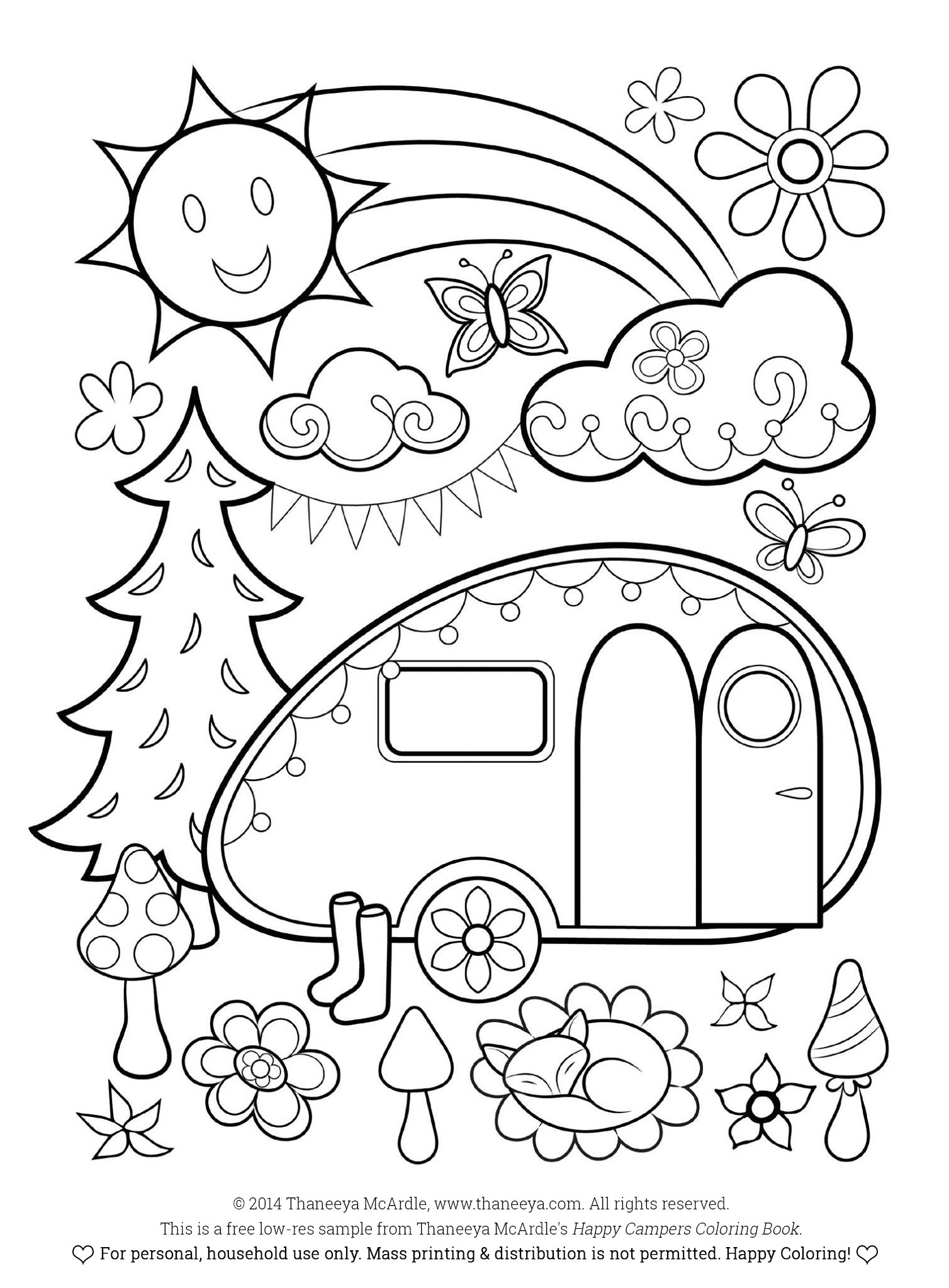 Free Happy Campers Coloring Page