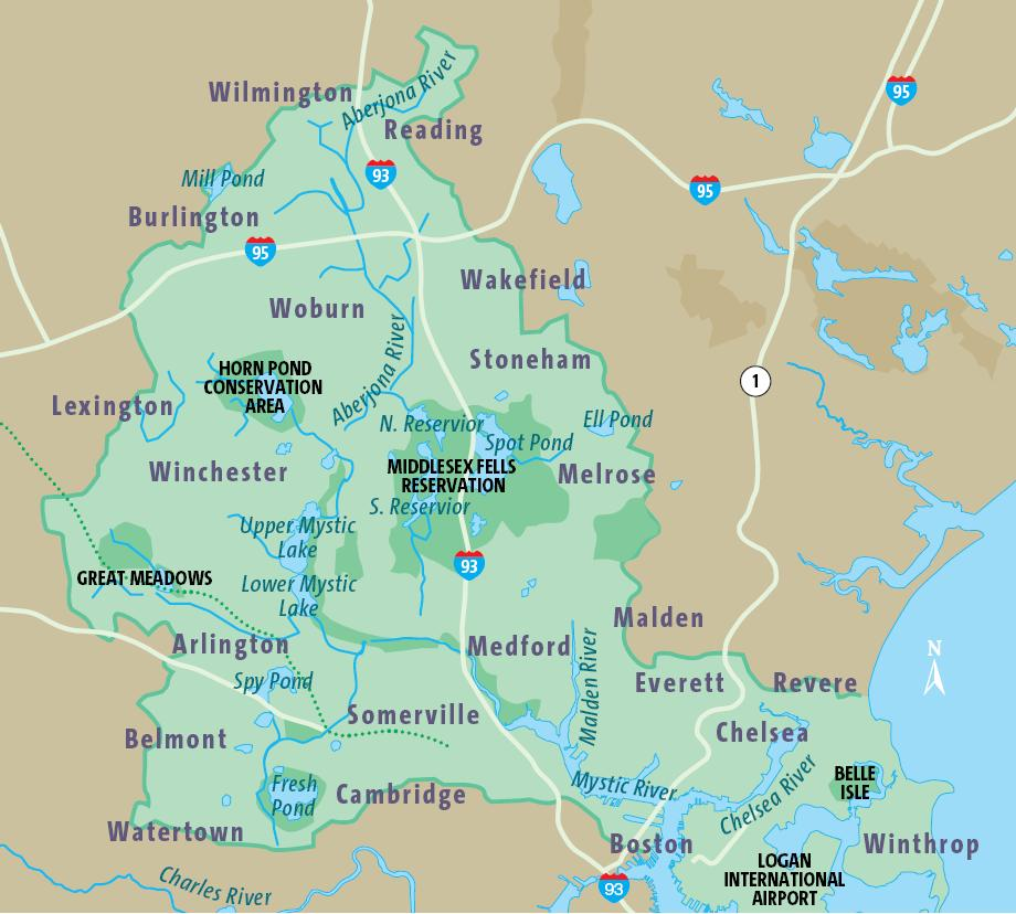 Maps Atlas Mystic River Watershed Association - Colorful map of watersheds in us