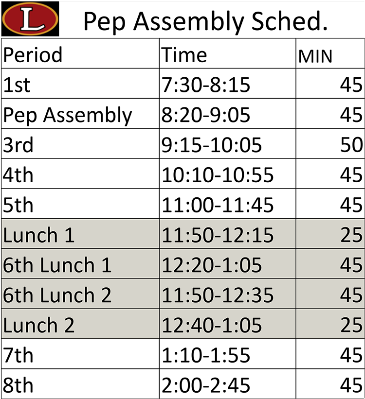 Pep Assembly Schedule