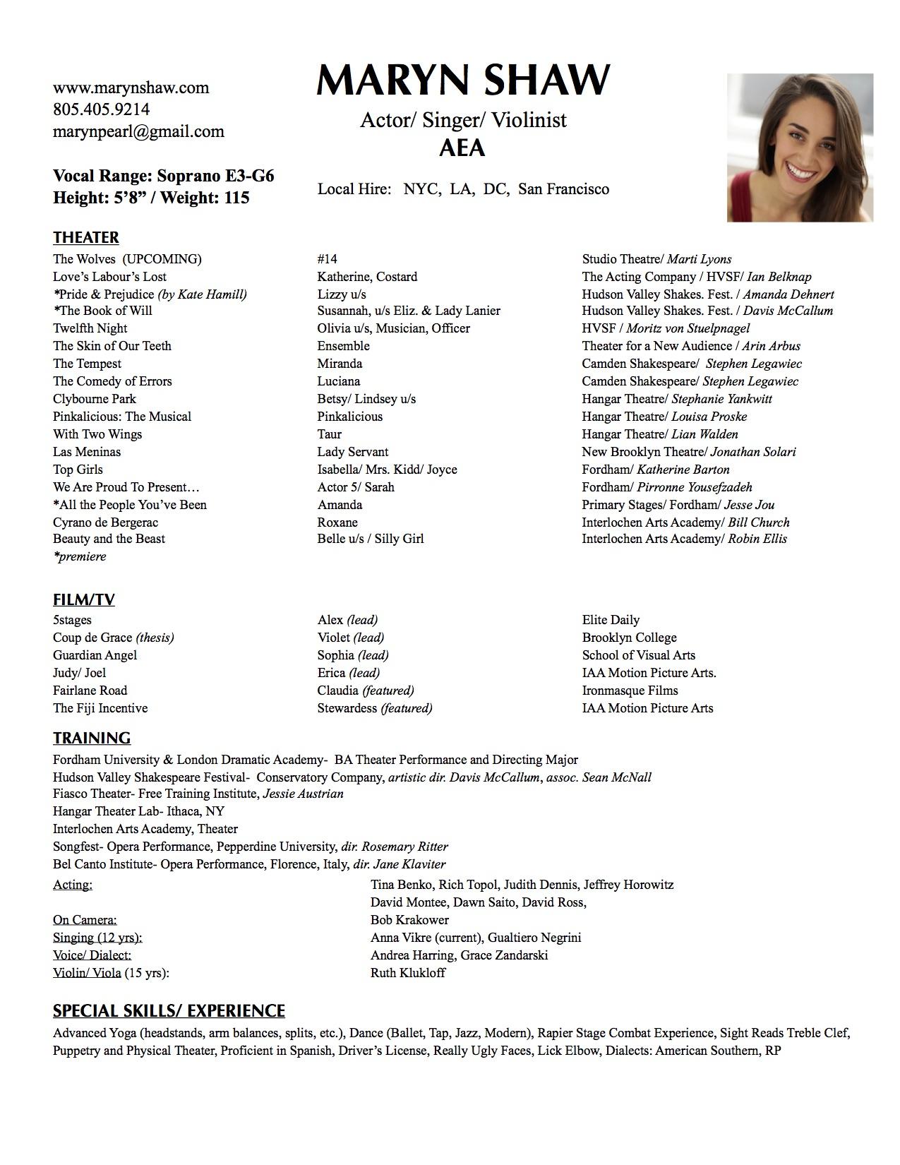 resume Violinist Resume resume maryn shaw