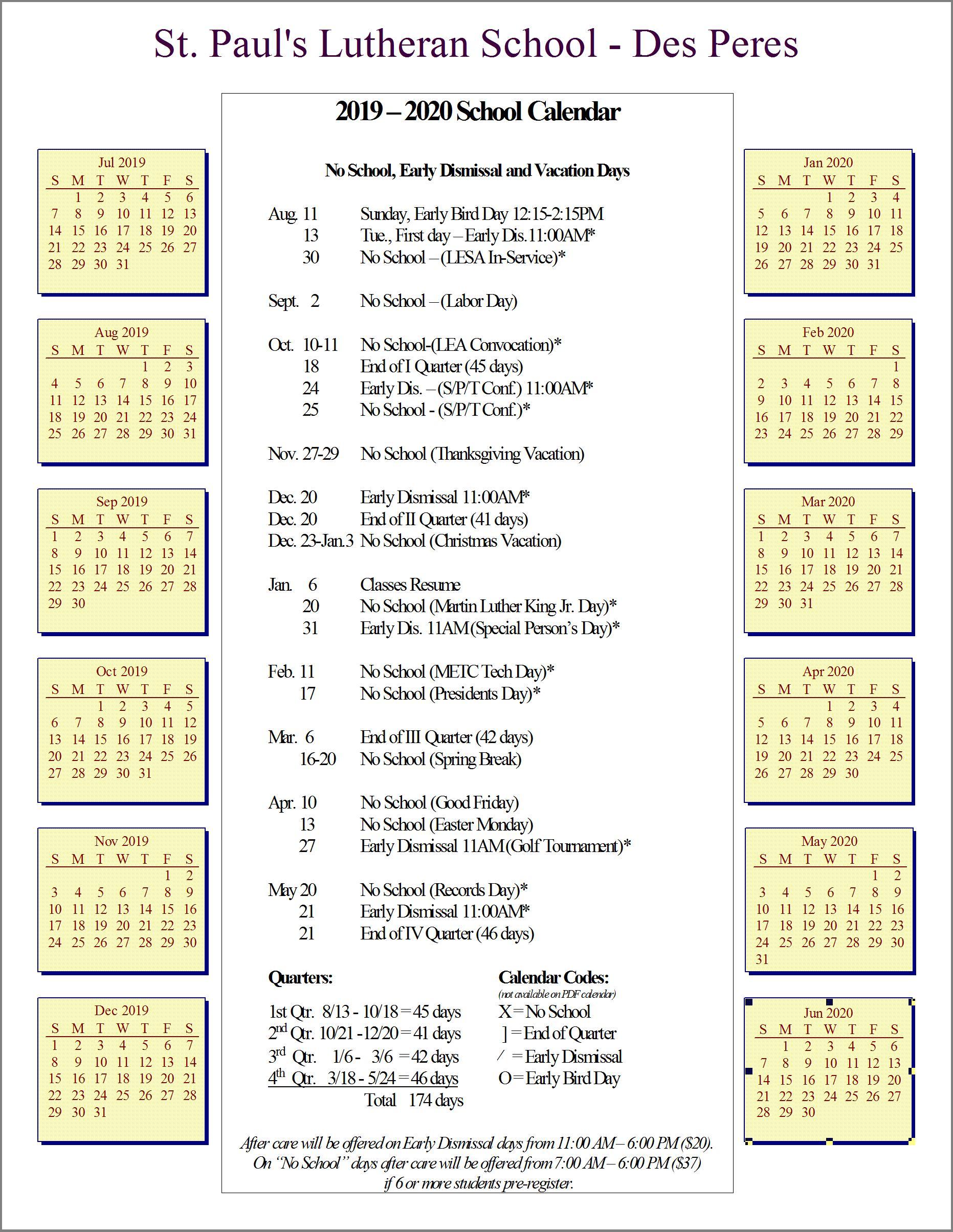 Lutheran Calendar 2020 Calendar — St. Paul's Lutheran School