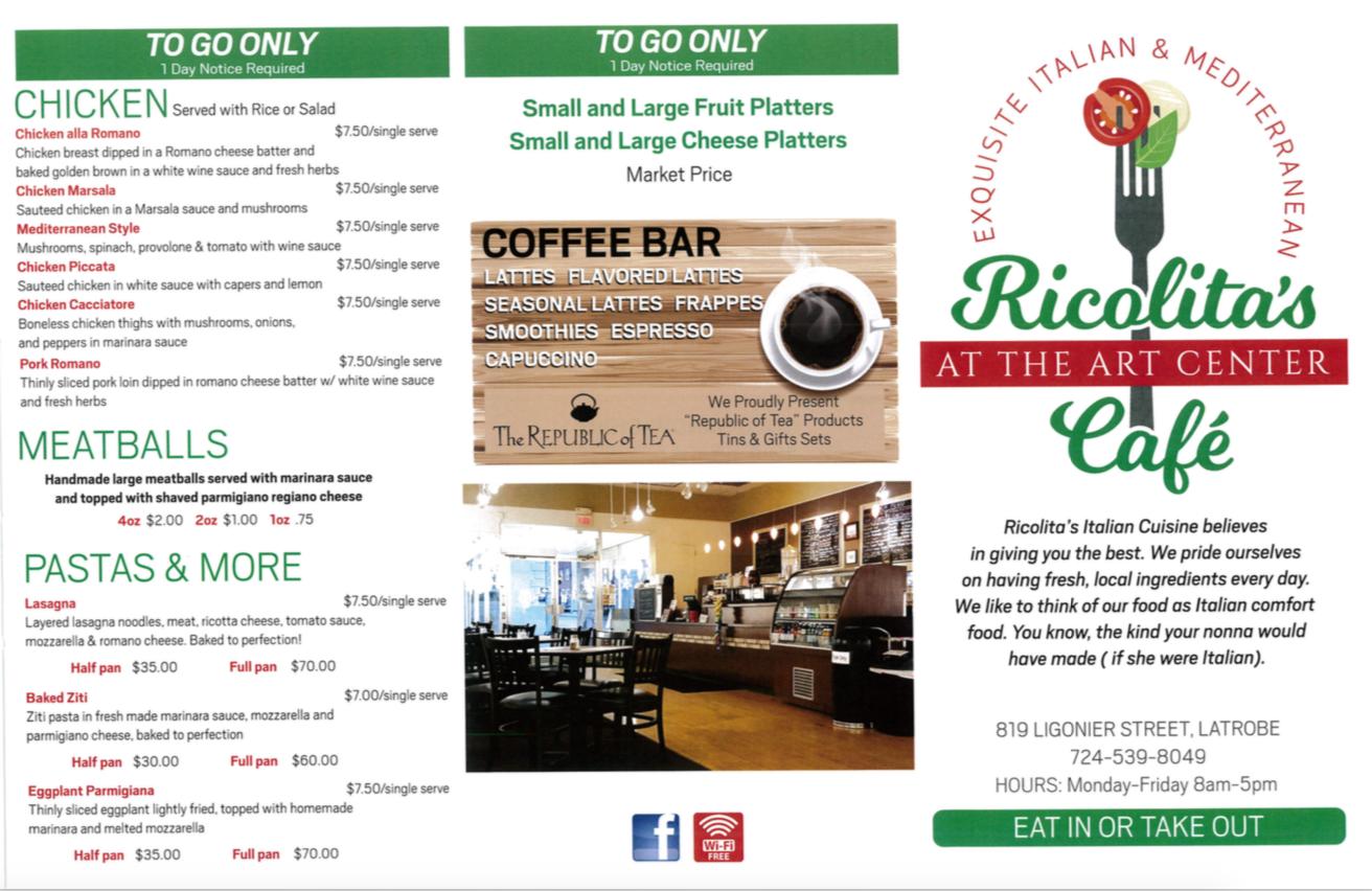 Ricolita menu latrobe art center call or check facebook for daily specials publicscrutiny Choice Image