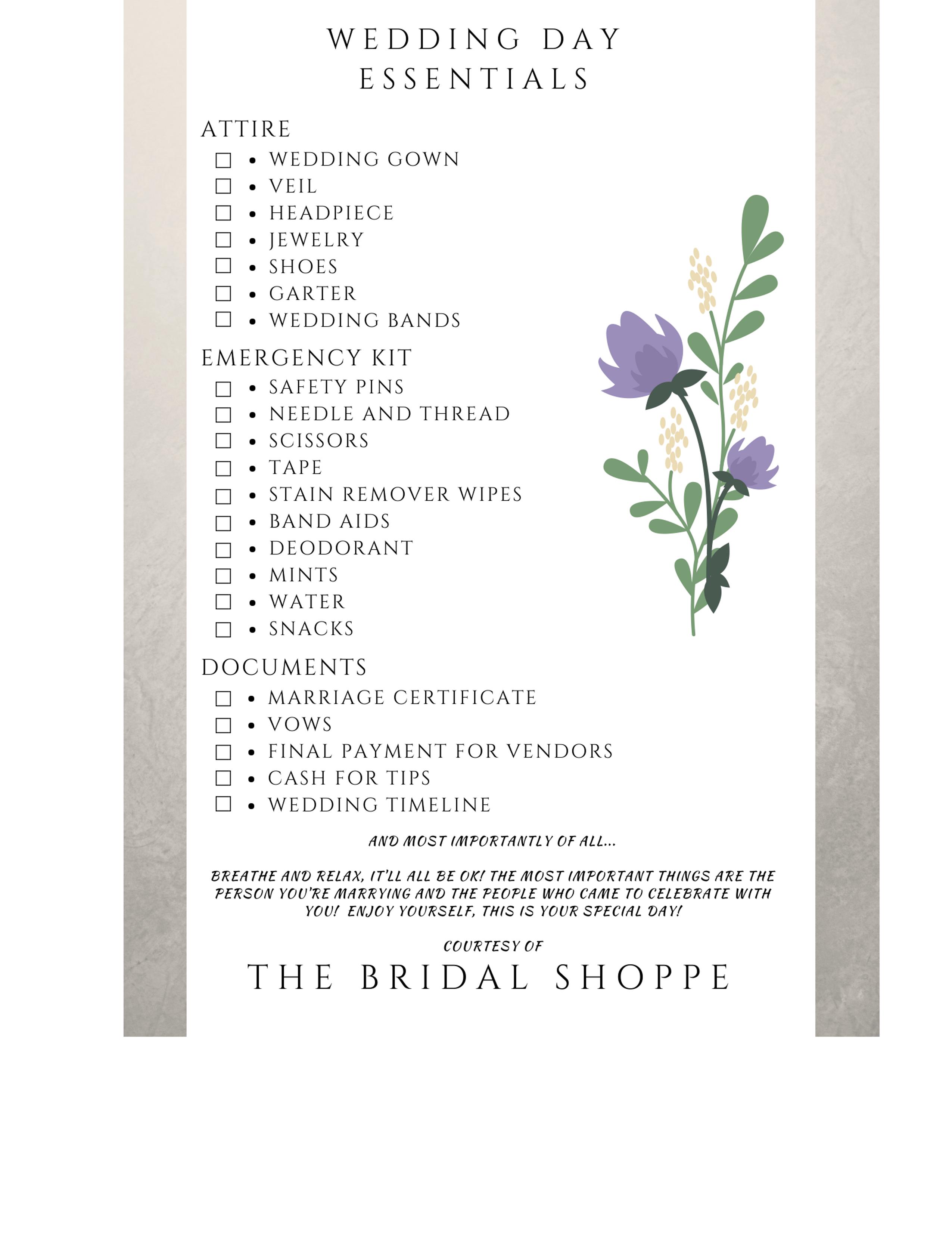 Wedding Day Checklist.Wedding Day Checklist The Bridal Shoppe